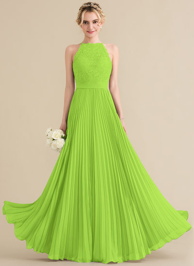 A-Line/Princess Scoop Neck Floor-Length Chiffon Lace Bridesmaid Dress With Pleated
