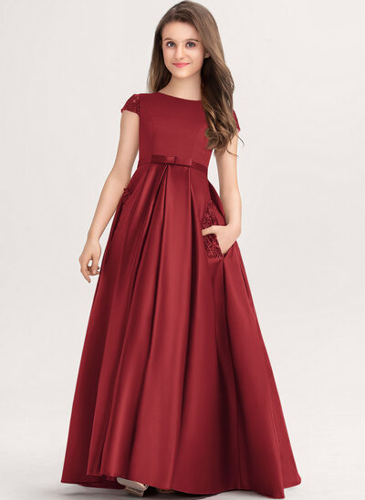 Ball-Gown/Princess Scoop Neck Floor-Length Satin Lace Junior Bridesmaid Dress With Bow(s) Pockets