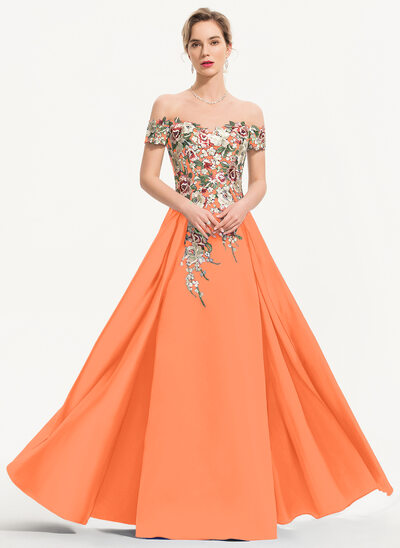 A-Line Off-the-Shoulder Floor-Length Satin Evening Dress
