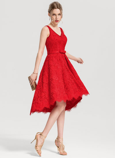 A-Line/Princess V-neck Asymmetrical Lace Cocktail Dress With Beading Sequins Bow(s)