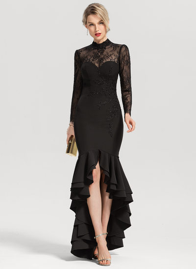 Trumpet/Mermaid Scoop Neck Asymmetrical Stretch Crepe Evening Dress With Beading Sequins