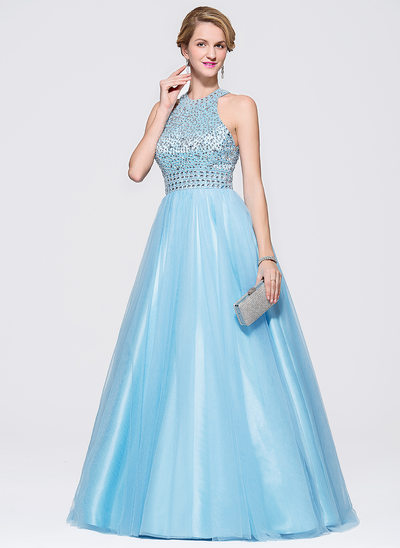 Ball-Gown Scoop Neck Sweep Train Tulle Prom Dress With Beading Sequins