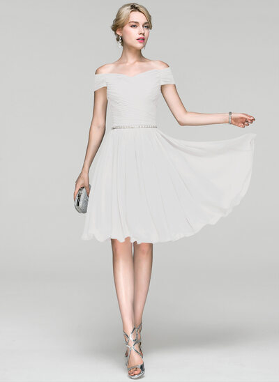 A-Line Off-the-Shoulder Knee-Length Chiffon Cocktail Dress With Ruffle Beading