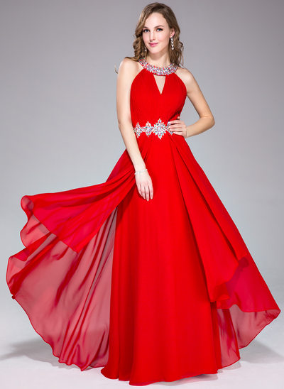 A-Line/Princess Scoop Neck Floor-Length Chiffon Prom Dresses With Ruffle Beading