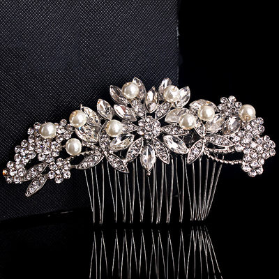 Ladies Charming Crystal/Imitation Pearls Combs & Barrettes