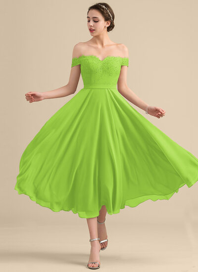 A-Line/Princess Off-the-Shoulder Tea-Length Chiffon Lace Bridesmaid Dress With Beading Sequins