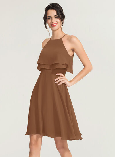 A-Line Square Neckline Knee-Length Chiffon Cocktail Dress