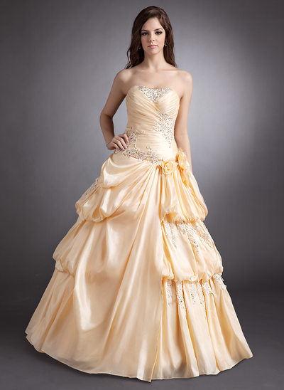 A-Line/Princess Sweetheart Floor-Length Taffeta Quinceanera Dress With Ruffle Beading Appliques Lace Flower(s)