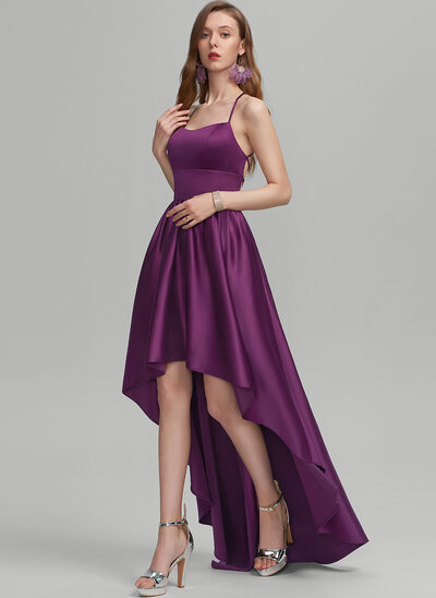 A-Line Square Neckline Asymmetrical Satin Evening Dress