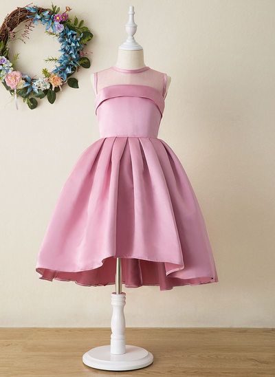 A-Line Asymmetrical Flower Girl Dress - Satin Sleeveless High Neck