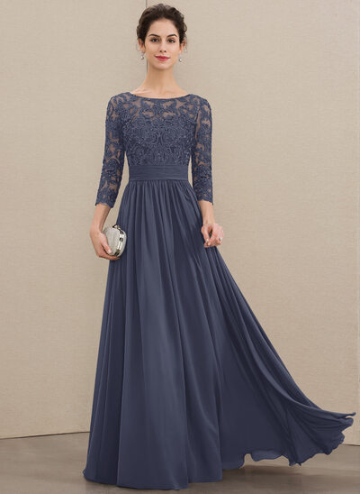 A-Line Scoop Neck Floor-Length Chiffon Lace Mother of the Bride Dress With Ruffle Beading Sequins