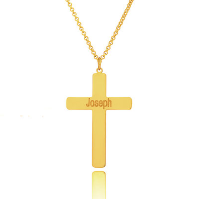 Christmas Gifts For Her - Custom 18k Gold Plated Silver Religious Cross Engraved Necklace