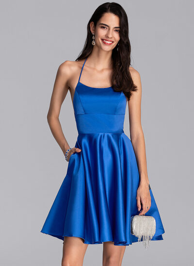 A-Line Square Neckline Short/Mini Satin Homecoming Dress