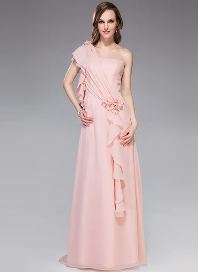 A-Line One-Shoulder Sweep Train Chiffon Holiday Dress With Beading Flower(s) Cascading Ruffles