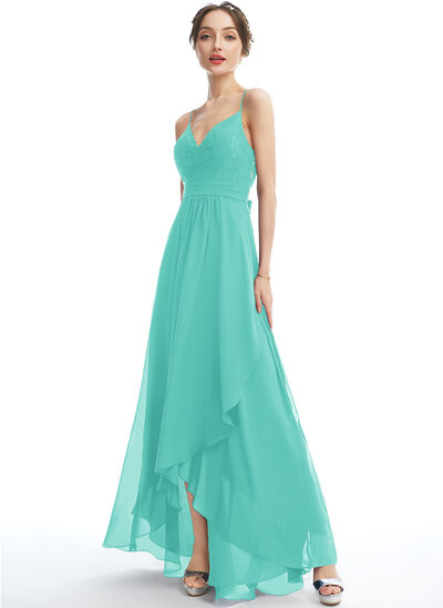 A-Line V-neck Asymmetrical Cocktail Dress With Lace Bow(s)