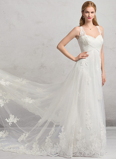 A-Line/Princess Sweetheart Cathedral Train Tulle Wedding Dress With Ruffle Appliques Lace