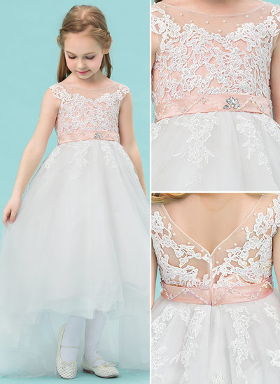 A-Line/Princess Asymmetrical Flower Girl Dress - Satin/Tulle/Lace Sleeveless Scoop Neck With Beading