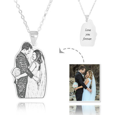 Custom Sterling Silver Engraving/Engraved Tag Black And White Photo Engraved Engraved Necklace Photo Necklace - Birthday Gifts