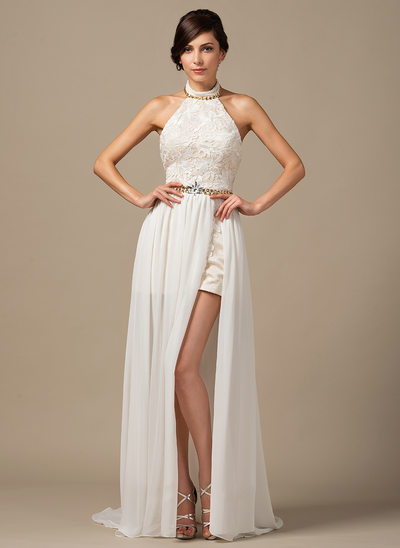 A-Line/Princess Halter Court Train Chiffon Lace Wedding Dress With Beading