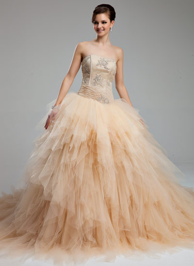 Ball-Gown Sweetheart Cathedral Train Tulle Wedding Dress With Ruffle Lace Beading