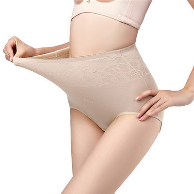 Women Sexy Spandex Breathability High Waist Panties With Jacquard Shapewear