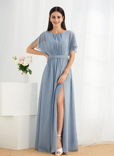 A-Line Floor-Length Bridesmaid Dress With Ruffle Split Front