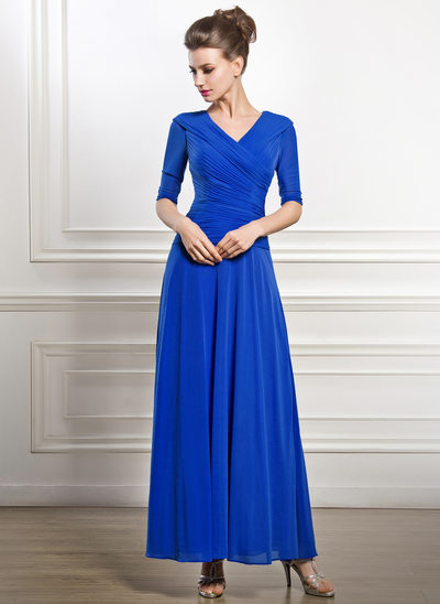 A-Line/Princess V-neck Ankle-Length Jersey Mother of the Bride Dress With Ruffle