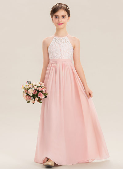 77d00c408 A-Line Scoop Neck Floor-Length Chiffon Lace Junior Bridesmaid Dress