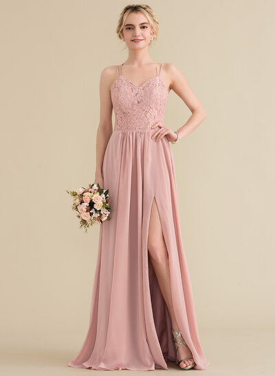fce1135621a A-Line Princess Sweetheart Floor-Length Chiffon Lace Prom Dresses With  Split Front