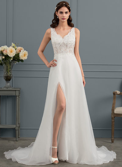 A-Line V-neck Sweep Train Organza Wedding Dress With Sequins Split Front
