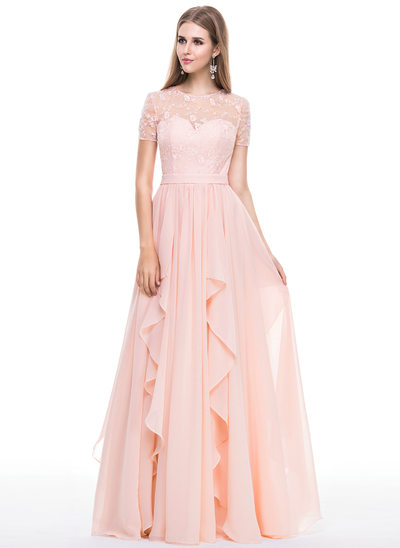 A-Line/Princess Scoop Neck Floor-Length Chiffon Lace Evening Dress With Cascading Ruffles