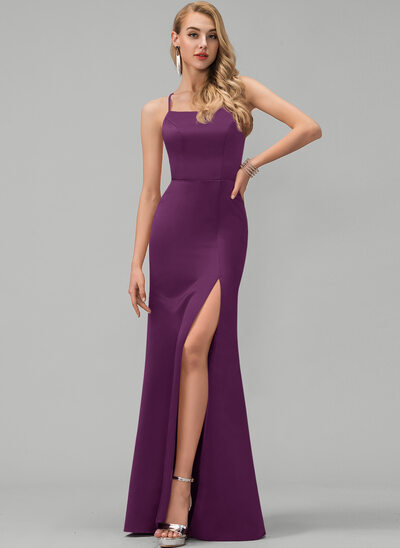 Sheath/Column Square Neckline Floor-Length Satin Prom Dresses With Split Front