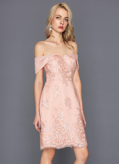 Etui-Linie Off-the-Schulter Knielang Lace Cocktailkleid