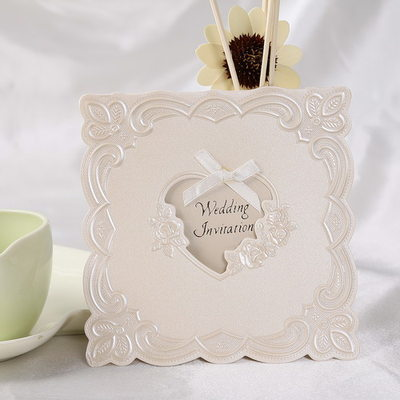 Kalp Stil Top Katlama Invitation Cards Ile Saten Kurdele