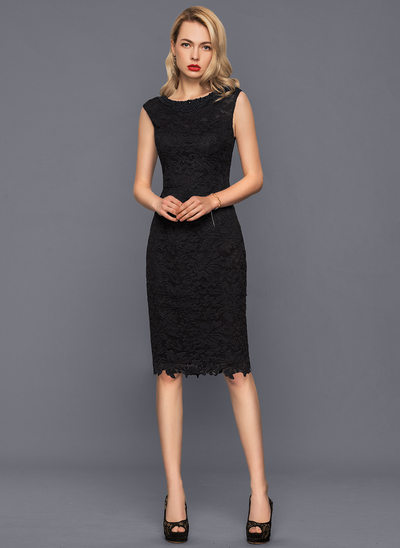 Sheath/Column Scoop Neck Knee-Length Lace Cocktail Dress With Beading
