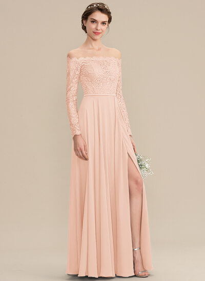 A-Line Off-the-Shoulder Floor-Length Chiffon Lace Evening Dress With Split Front