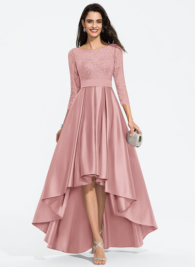 A-Line Scoop Neck Asymmetrical Satin Prom Dresses With Bow(s)