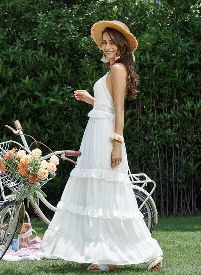 A-Line V-neck Ankle-Length Prom Dresses With Lace