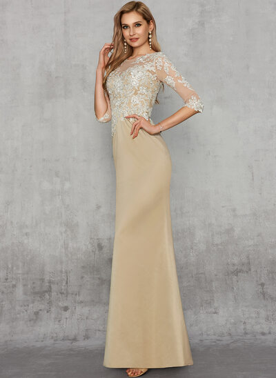Sheath/Column Scoop Neck Floor-Length Satin Lace Evening Dress With Sequins