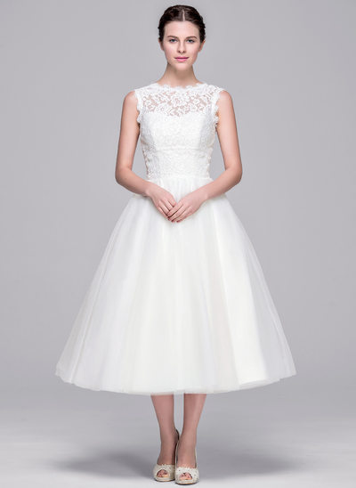 Ball-Gown/Princess Illusion Tea-Length Tulle Lace Wedding Dress