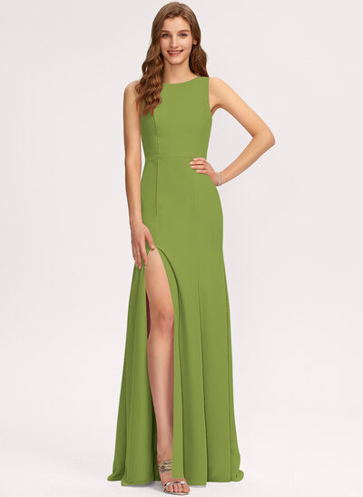 Sheath/Column Scoop Neck Floor-Length Chiffon Bridesmaid Dress With Split Front