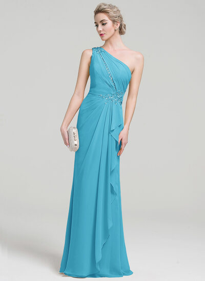 Sheath/Column One-Shoulder Floor-Length Chiffon Evening Dress With Beading Sequins Cascading Ruffles