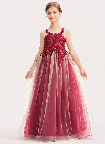 A-Line Floor-length Flower Girl Dress - Tulle/Lace Sleeveless Scoop Neck With Sequins