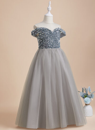 A-Line Floor-length Flower Girl Dress - Tulle/Sequined Sleeveless Scoop Neck