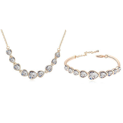 Ladies' Gorgeous Alloy/Champaign Gold Plated With Heart Austrian Crystal Jewelry Sets For Bridesmaid/For Friends