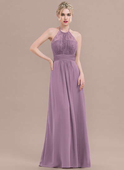 A-Line/Princess Halter Floor-Length Chiffon Lace Bridesmaid Dress With Ruffle Bow(s)