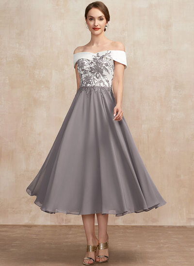 A-Line Off-the-Shoulder Tea-Length Chiffon Lace Mother of the Bride Dress