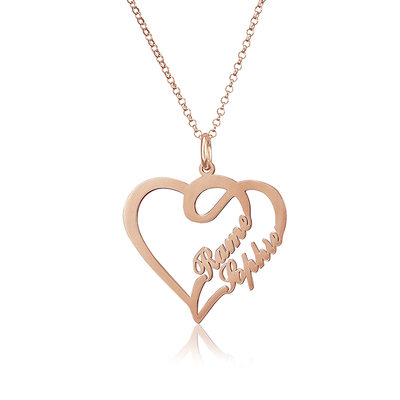 Custom 18k Rose Gold Plated Heart Two Name Necklace - Valentines Gifts