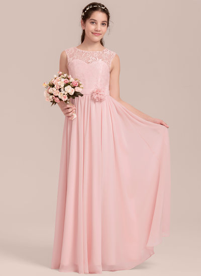 A Line/Princess Scoop Neck Floor Length Chiffon Junior Bridesmaid Dress  With Flower