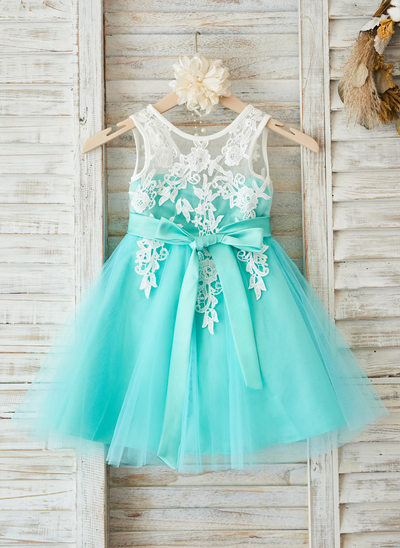 A-Line/Princess Knee-length Flower Girl Dress - Tulle/Lace Sleeveless Scoop Neck With Sash/V Back (Detachable sash)